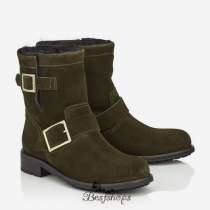 Jimmy Choo Army Green Suede Biker Boots with Rabbit Fur Lining BSJC9816568