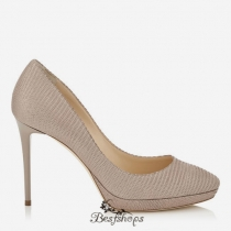 Jimmy Choo Nude Glitter Printed Leather Round Toe Platform Pumps 100mm BSJC7416714
