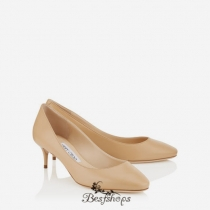 Jimmy Choo Nude Kid Leather Round Toe Pumps 50mm BSJC7436914