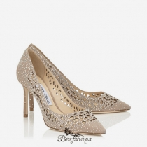 Jimmy Choo Nude Perforated Suede with Crystal Hotfix Detailing Pointy Toe Pumps 85mm BSJC7418474