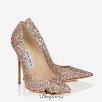 Jimmy Choo Nude Shadow Coarse Glitter Fabric Pointy Toe Pumps 120mm BSJC1384628