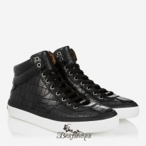 Jimmy Choo Black Crocodile Embossed Leather Sneakers BSJC6872624