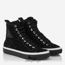 Jimmy Choo Black Leopard Flock Shearling High Top Trainers BSJC9867574