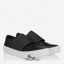 Jimmy Choo Black Matt Calf and Black Elastic Low Top Trainers BSJC0924658