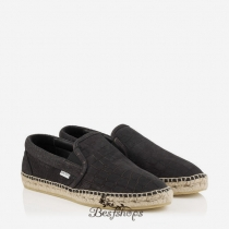Jimmy Choo Black Matt Croc Embossed Leather Espadrilles BSJC9554328