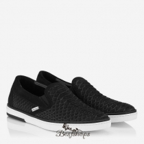 Jimmy Choo Black Matt Python Slip On Trainers BSJC5670944