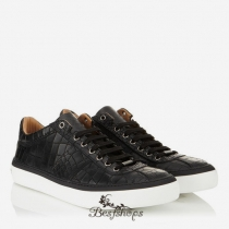 Jimmy Choo Black Mock Croc Low Top Trainers BSJC3214888