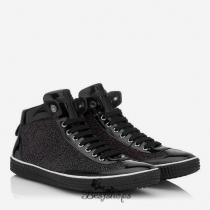Jimmy Choo Black Multi Coarse Glitter Suede and Patent High Top Trainers BSJC7740018
