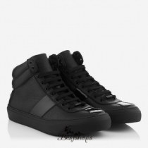 Jimmy Choo Black Nappa and Patent High Top Trainers BSJC4673572