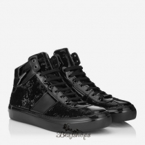 Jimmy Choo Black Nappa Sneakers with Gunmetal Stars BSJC2142205