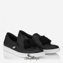 Jimmy Choo Black Sport Calf Slip On Tasselled Trainers BSJC9852007