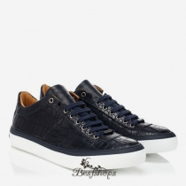 Jimmy Choo Navy Crocodile Embossed Lace Up Low Top Trainer BSJC8472638