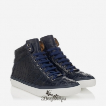 Jimmy Choo Navy Crocodile Embossed Leather Trainers BSJC0621528