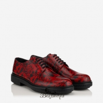 Jimmy Choo Red and Black Russian Flower Calf Leather Creepers BSJC7654618