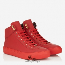 Jimmy Choo Russian Red Grained Matt Calf Leather High Top Trainers BSJC2743625