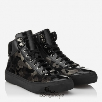 Jimmy Choo Gunmetal Camouflage Glitter Velvet High Top Trainers BSJC6677671
