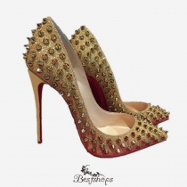 Pigalle Follies Rivets Gold 120MM Pumps BSCL85832