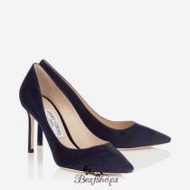 Jimmy Choo Navy Suede Pointy Toe Pumps 85mm BSJC7951034