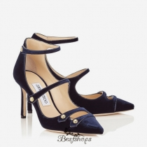Jimmy Choo Navy Velvet and Black Patent Pointy Toe Pumps 85mm BSJC3758474