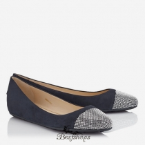 Jimmy Choo Navy Suede and Metal Micro studs Ballet Flats BSJC6391228