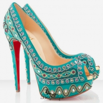 Bollywoody 140mm Peep Toe Pumps Turquoise BSCL4411930
