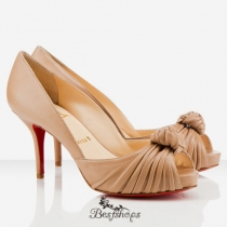 Greissimo 80mm Peep Toe Pumps Beige BSCL341932