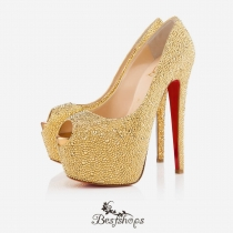 Highness Strass 160mm Peep Toe Pumps Yellow BSCL987331