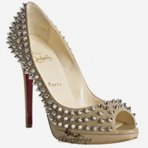 Yolanda Spikes 120mm Peep Toe Pumps Beige BSCL424621