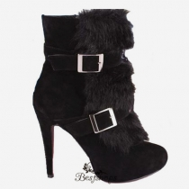 Toundra Fur 120mm Ankle Boots Black BSCL3918494