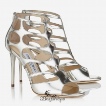 Jimmy Choo Silver Mirror Leather Sandals 100mm BSJC7754444