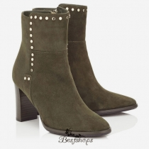 Jimmy Choo Army Green Suede Boots with Stud Trim 80mm BSJC3774578