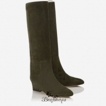 Jimmy Choo Army Green Suede Mid Calf Boots 50mm BSJC6864025