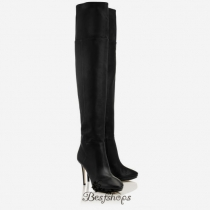 Jimmy Choo Black Grainy Calf Leather Over The Knee Boots 100mm BSJC2214398