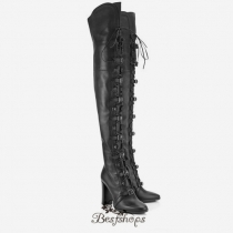 Jimmy Choo Black Leather Over the Knee Boots 95mm BSJC3379624