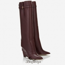 Jimmy Choo Bordeaux Shiny Calf Knee High Boots 100mm BSJC6877054