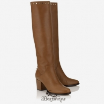 Jimmy Choo Khaki Brown Smooth Leather Knee High Boots with Studs Trim 65mm BSJC1238862