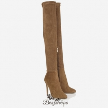 Jimmy Choo Khaki Brown Stretch Suede Over the Knee Boots 100mm BSJC0465828