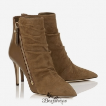 Jimmy Choo Khaki Brown Suede and Calf Ankle Booties 85mm BSJC7779841
