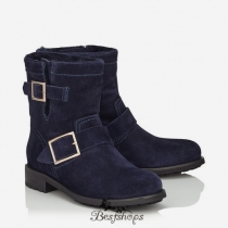 Jimmy Choo Navy Suede Biker Boots with Shearling Lining BSJC5870022