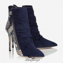 Jimmy Choo Navy Suede and Violet Blue Painted Python Ankle Booties 100mm BSJC5566614
