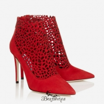 Jimmy Choo Red Laser Perforated Suede Booties 100mm BSJC0070042