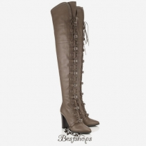 Jimmy Choo Taupe Grey Leather Over the Knee Boots 95mm BSJC6612038