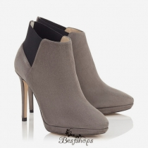 Jimmy Choo Taupe Grey Suede Ankle Booties 100mm BSJC6850111
