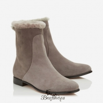 Jimmy Choo Taupe Grey Suede and Shearling Lined Ankle Boots BSJC4434650