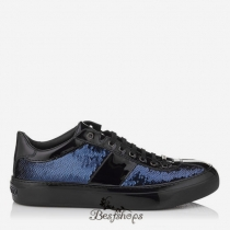 Jimmy Choo Uniform Blue Pailettes Fabric Low Top Trainers BSJC9869688