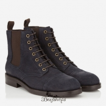 Jimmy Choo Uniform Blue Rugged Waxed Suede Boots BSJC9818521