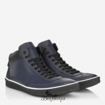 Jimmy Choo Uniform Blue Sport Calf Leather High Top Trainers BSJC9123528