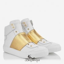 Jimmy Choo White Matt Calf and Gold Metallic Elastic High Top Trainer BSJC9833128