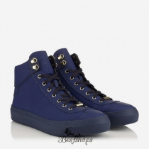 Jimmy Choo Uniform Blue Grained Matt Calf Leather High Top Trainers BSJC9871878