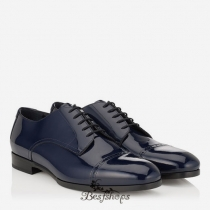 Jimmy Choo Uniform Blue Patent Leather Lace Up Shoes BSJC9871578